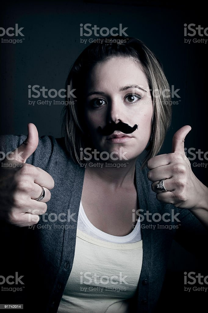 Mustached Young Adult Woman stock photo