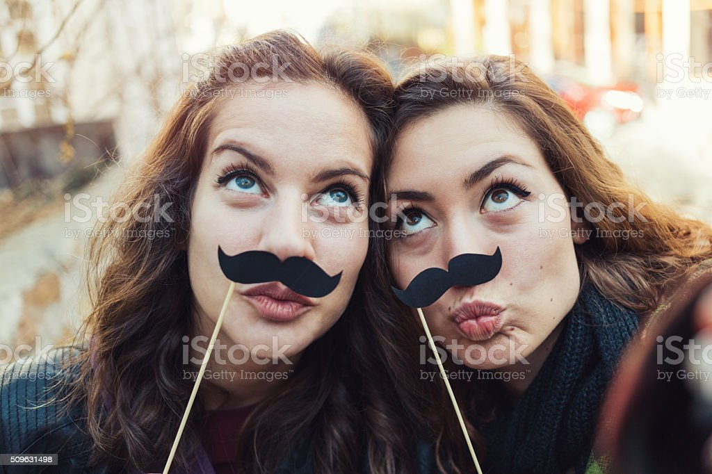 Mustaches selfie stock photo