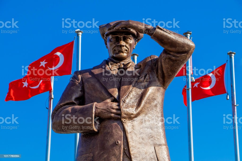 Mustafa Kemal Atatürk's statue in Marmaris stock photo