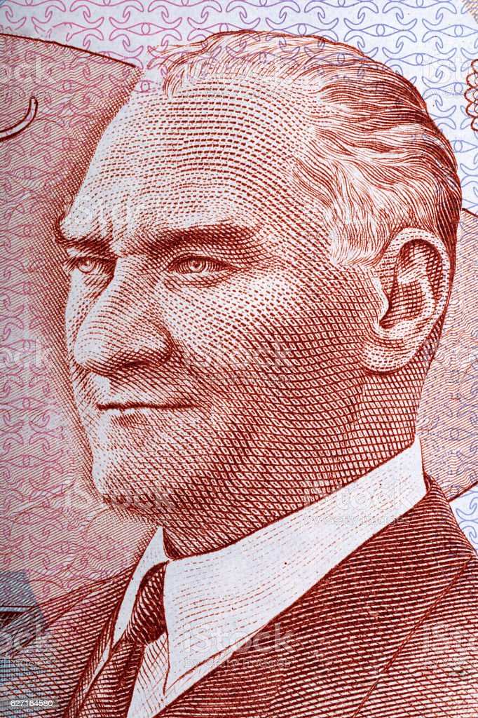Mustafa Kemal Ataturk portrait from Turkish money stock photo