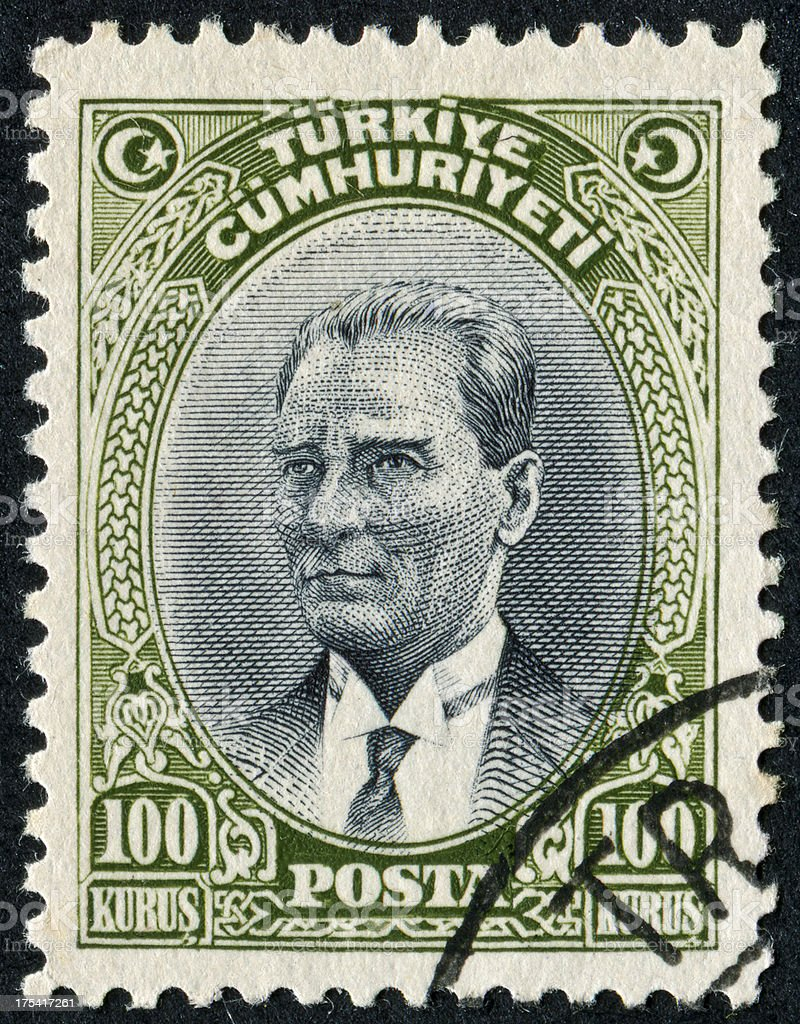 Mustafa Kemal Ataturk Stamp stock photo