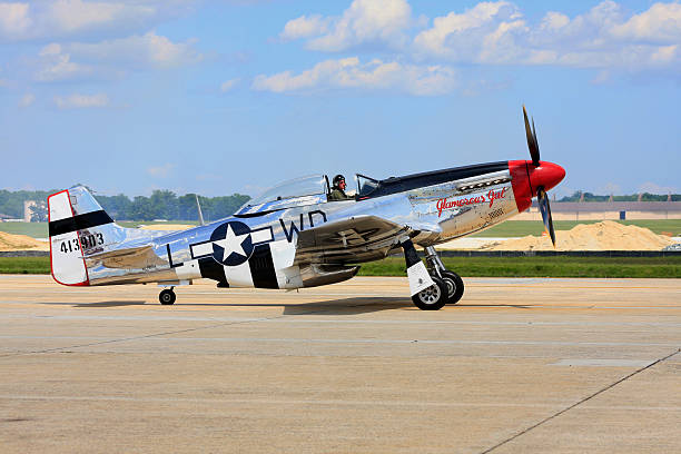 P-51D Mustang at Andrews Air Force Base Air Show stock photo