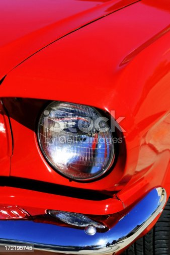 Another detail of a classic red Mustang