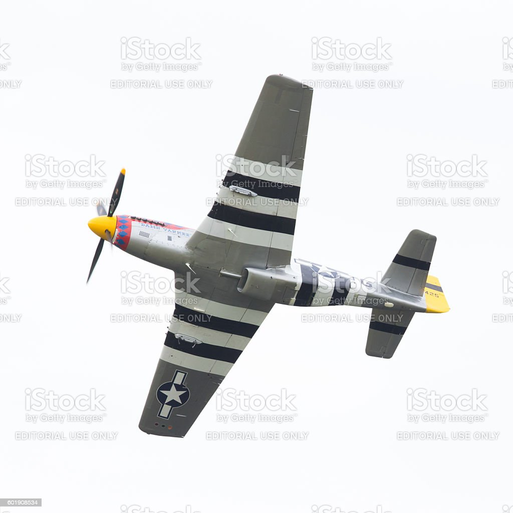 P51 Mustang displaying at the Dutch Air Force Open House stock photo