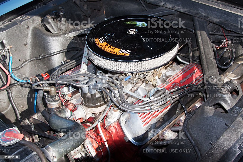 Mustang engine stock photo