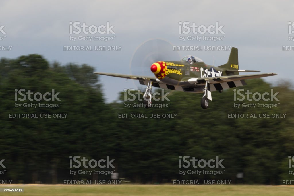 P-51D Mustang Frenesi lands at The Royal International Air Tattoo stock photo