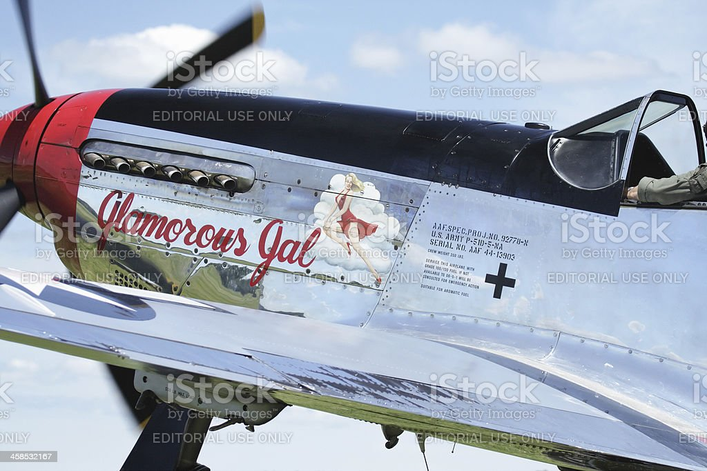 P-51D Mustang Glamorous Gal WWII Vintage Military Airplane royalty-free stock photo