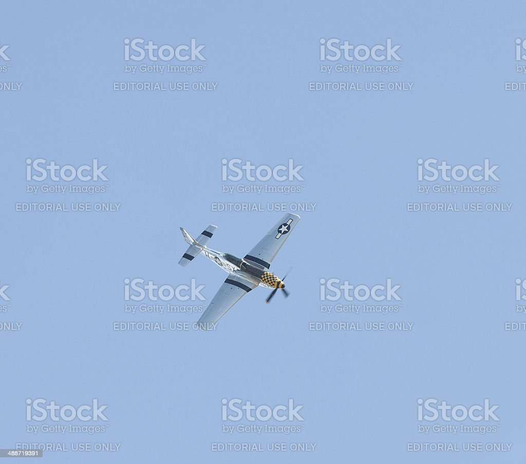 P-51 Mustang in Flight royalty-free stock photo