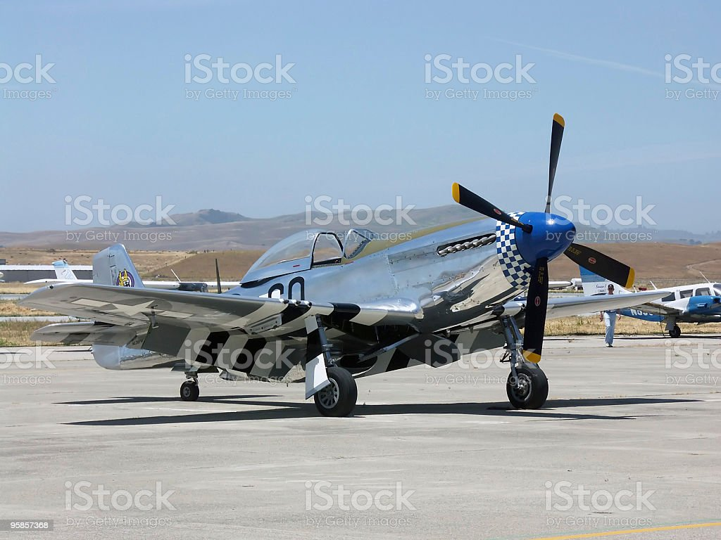 P-51 Mustang in Hollister, CA royalty-free stock photo
