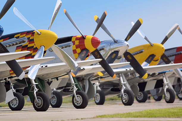 p-51 mustang line up - airshow stock photos and pictures