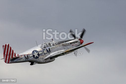 Seattle, Wa, United States - July 3, 2016: A very rare P-51C Mustang owned by the Collings Foundation was seeing flying in the skies over Seattle, WA. This is 1 of only 5 built during WWII.