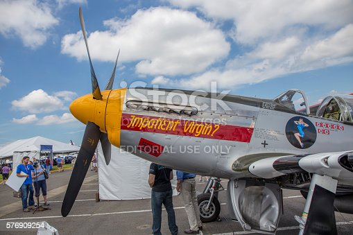 Seattle, Wa, United States - July 18, 2016: A P-51 Mustang on display at Boeing's centennial celebrations.