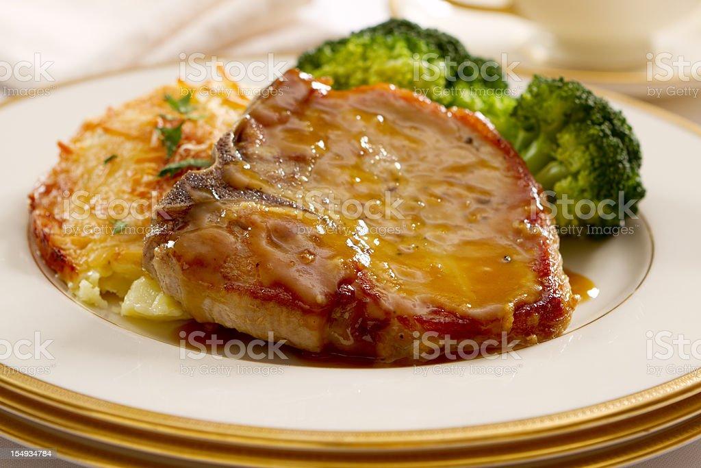 Mustard and Honey Glazed Pork Chops stock photo