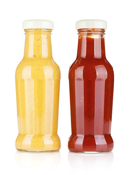 mustard and ketchup glass bottles - ketchup bottle stock photos and pictures