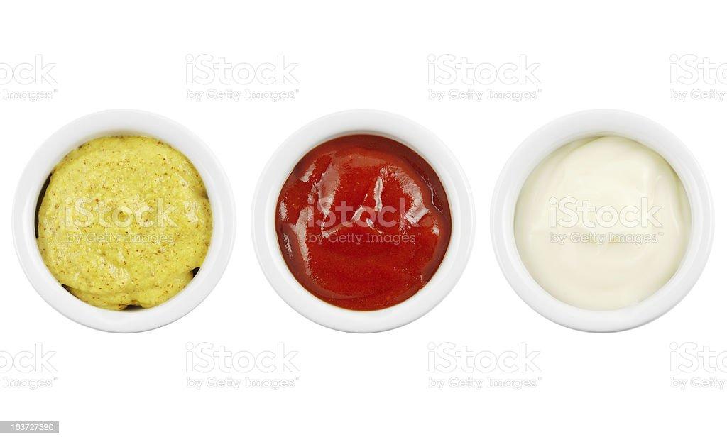 Mustard ketchup and mayonnaise royalty-free stock photo