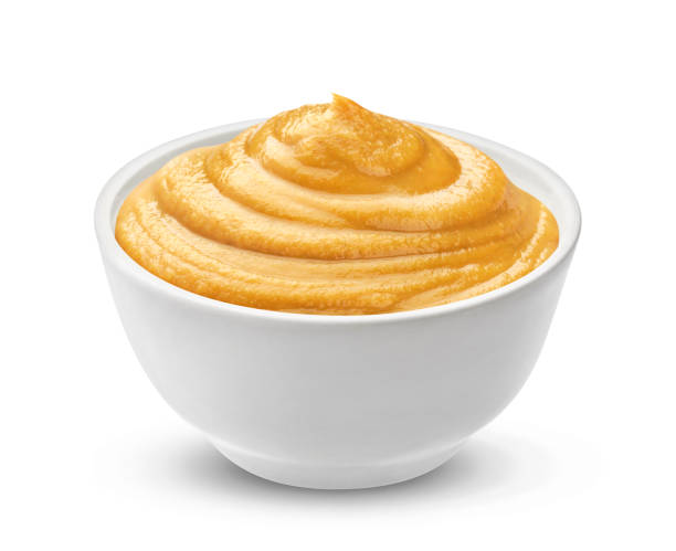 mustard sauce isolated on white background. - musztarda zdjęcia i obrazy z banku zdjęć