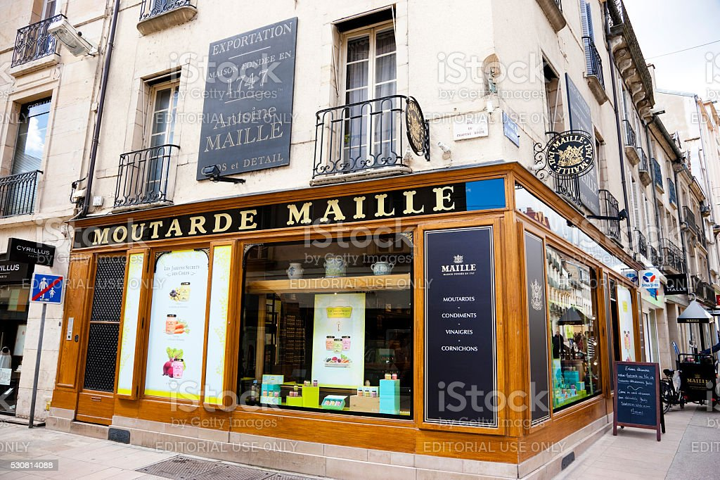 Mustard shop in Dijon, France stock photo