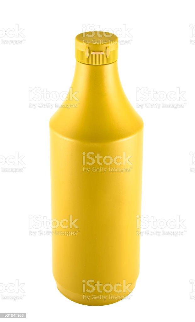 Mustard souce platic bottle over white background stock photo