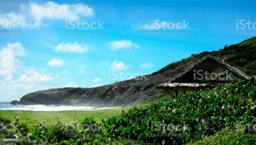 Mustique Island Grass Hut stock photo