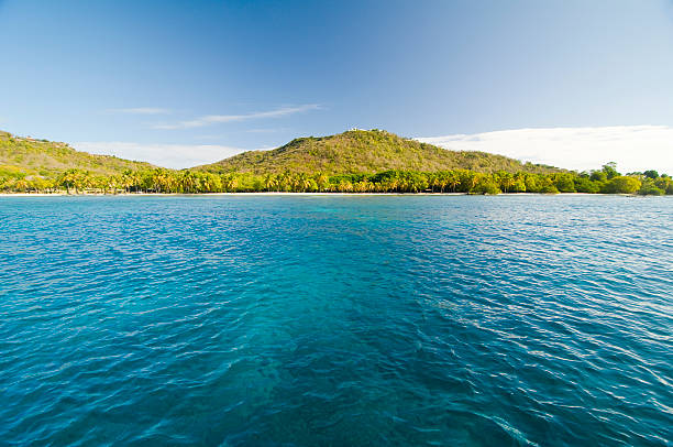 Mustique  Paradise - blue sea water and green island