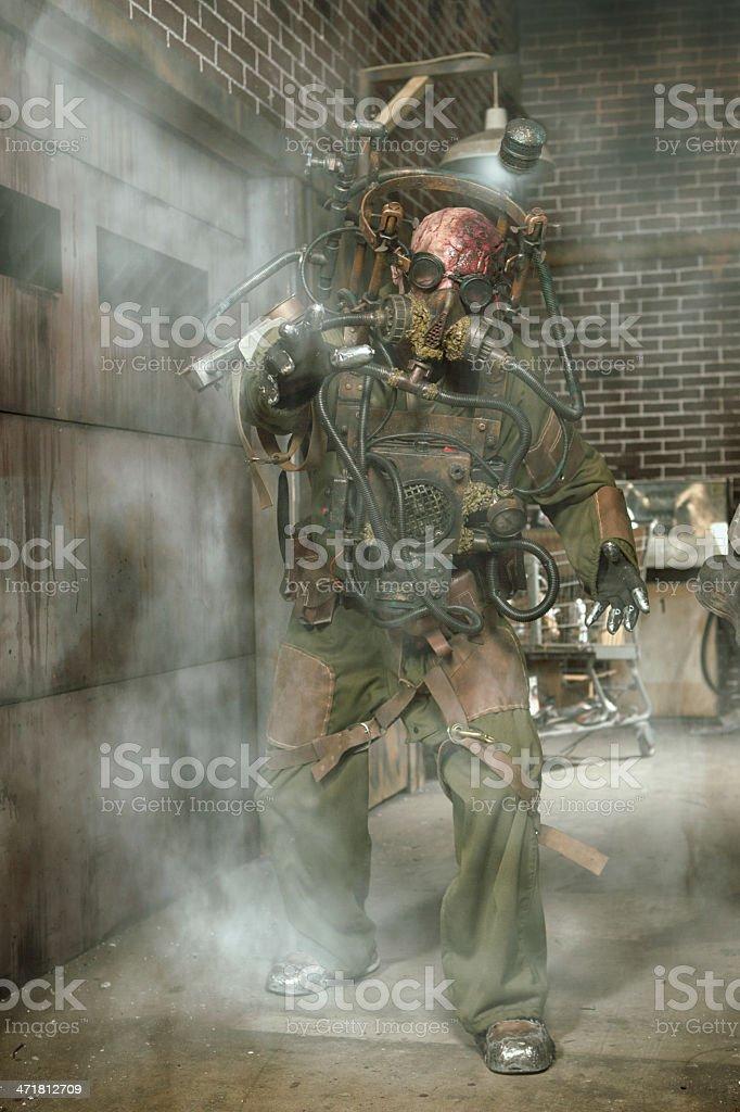 Mutant Miner in a dark alley stock photo