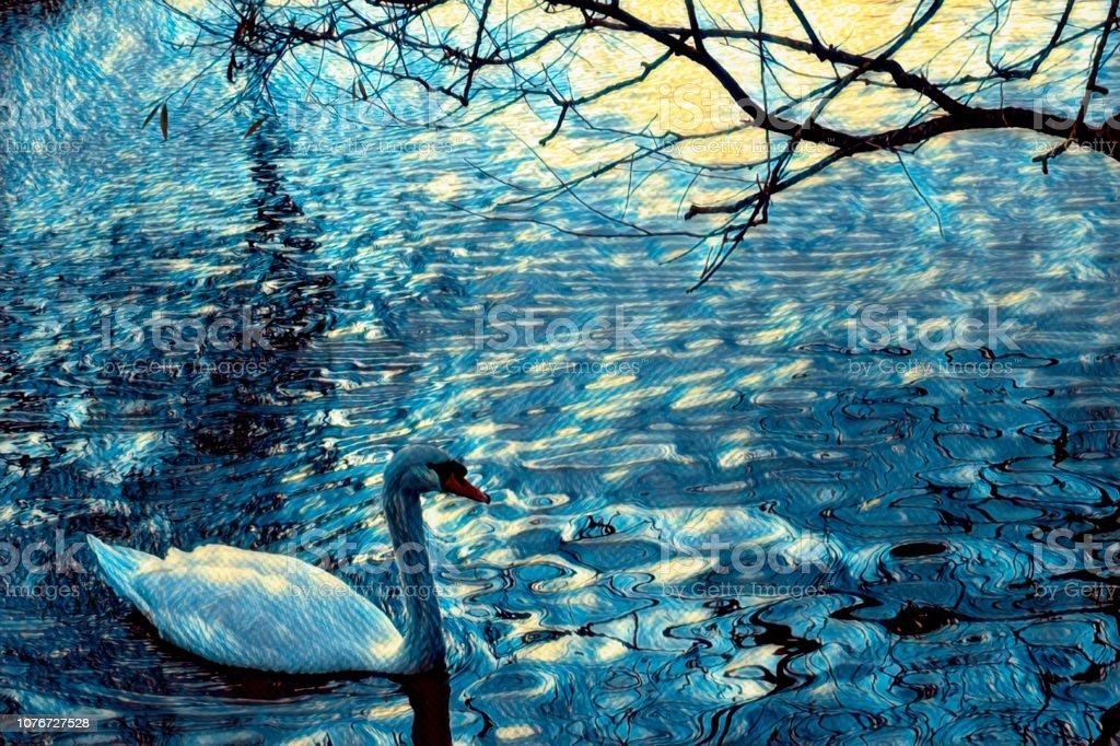 Mute swan Cygnus olor swimming in Van Gogh blue stock photo