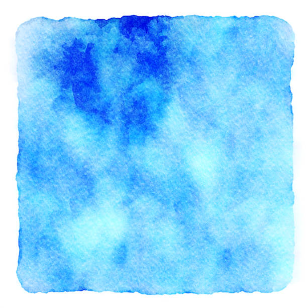 Muted blue and green artistic watercolor hand painted background art. copy space and no people. stock photo