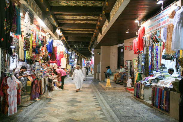 Mutrah Souq, Muscat, Sultanate of Oman Mutrah Souq, Muscat, Sultanate of Oman. The Mutrah souq is one of the most popular and visited in Muscat as it retains the chaotic flavour of a traditional Arab market. The numerous and colourful shops offer Omani and Indian artefacts, antiques, traditional textiles, hardware and jewellery. muslim quarter stock pictures, royalty-free photos & images