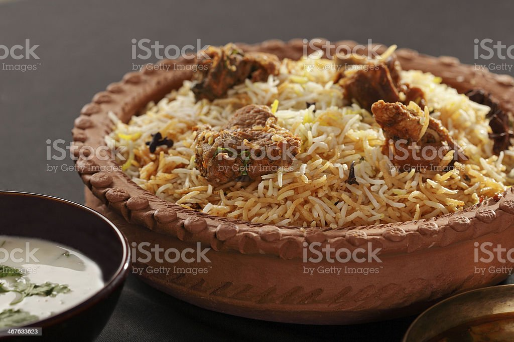 Mutton Gosht Biryani- A rice preparation with meat and spices stock photo