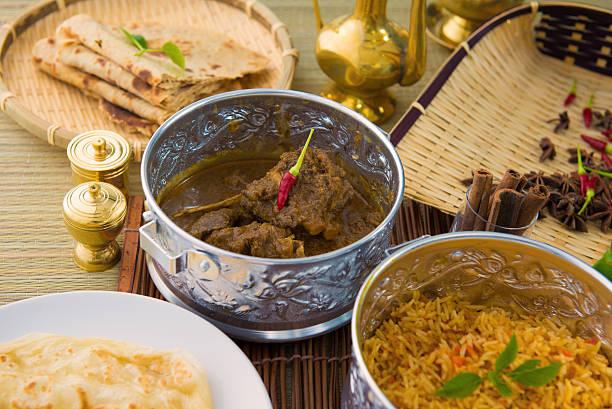 De carneiro korma famosa comida tradicional indiana fundo item - foto de acervo