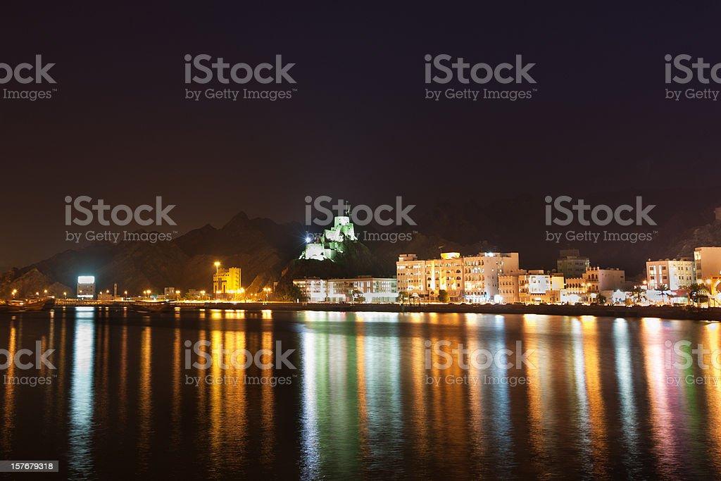 Muttrah Skyline at Night Sultanate Oman stock photo