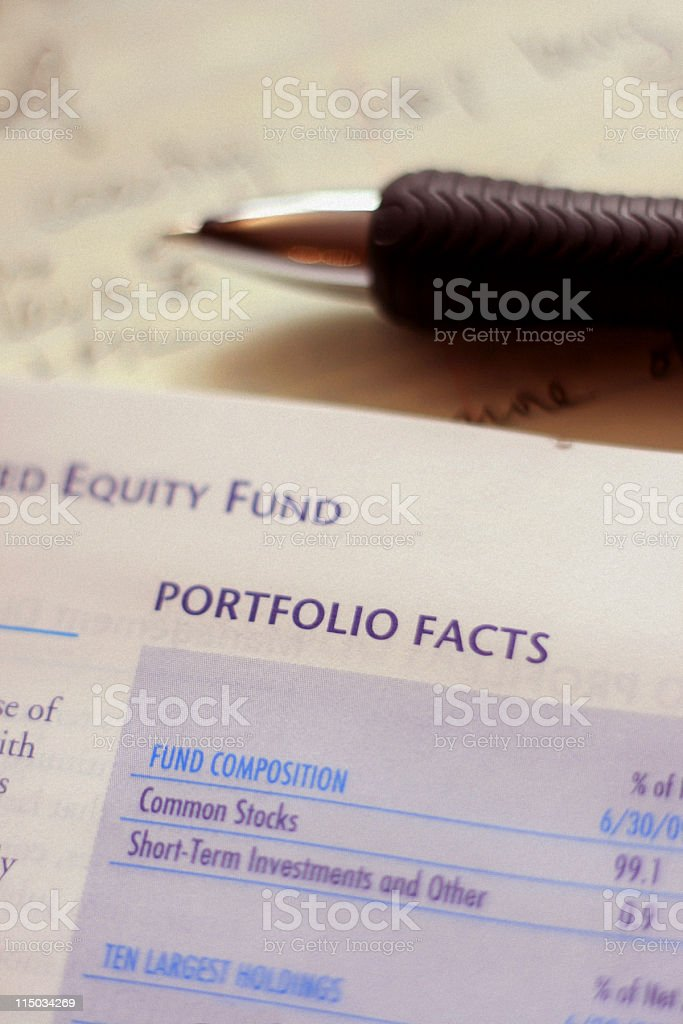 Mutual Fund Annual Report - Portfolio Composition stock photo