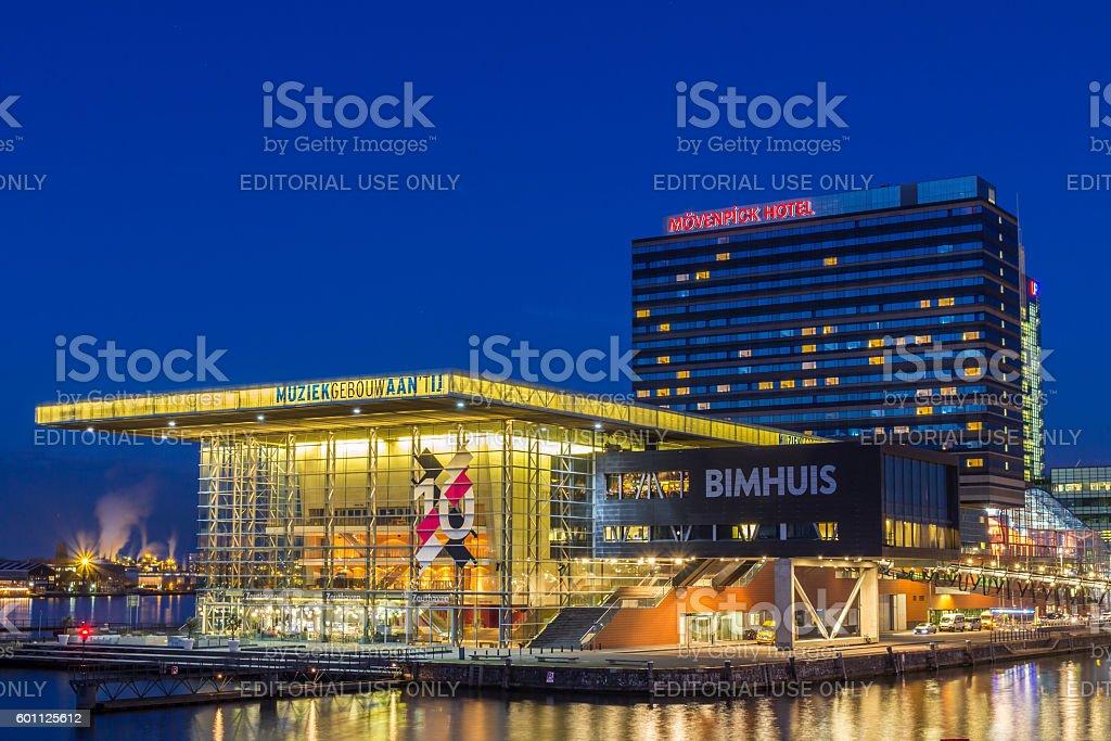 Muziekgebouw aan 't IJ, Bimhuis and Mövenpick Hotel Amsterdam stock photo