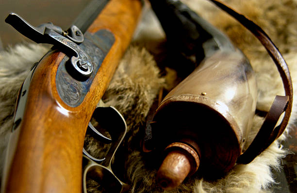 Muzzleloader with powder horn stock photo