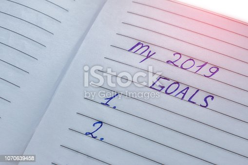 1186985932 istock photo My 2019 goals list - handwritten inscription on white striped paper with selective focus 1070639458