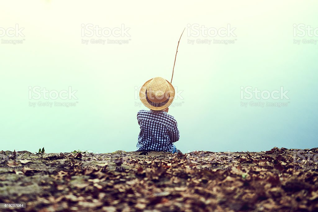 My all-time favourite thing to do is fishing stock photo