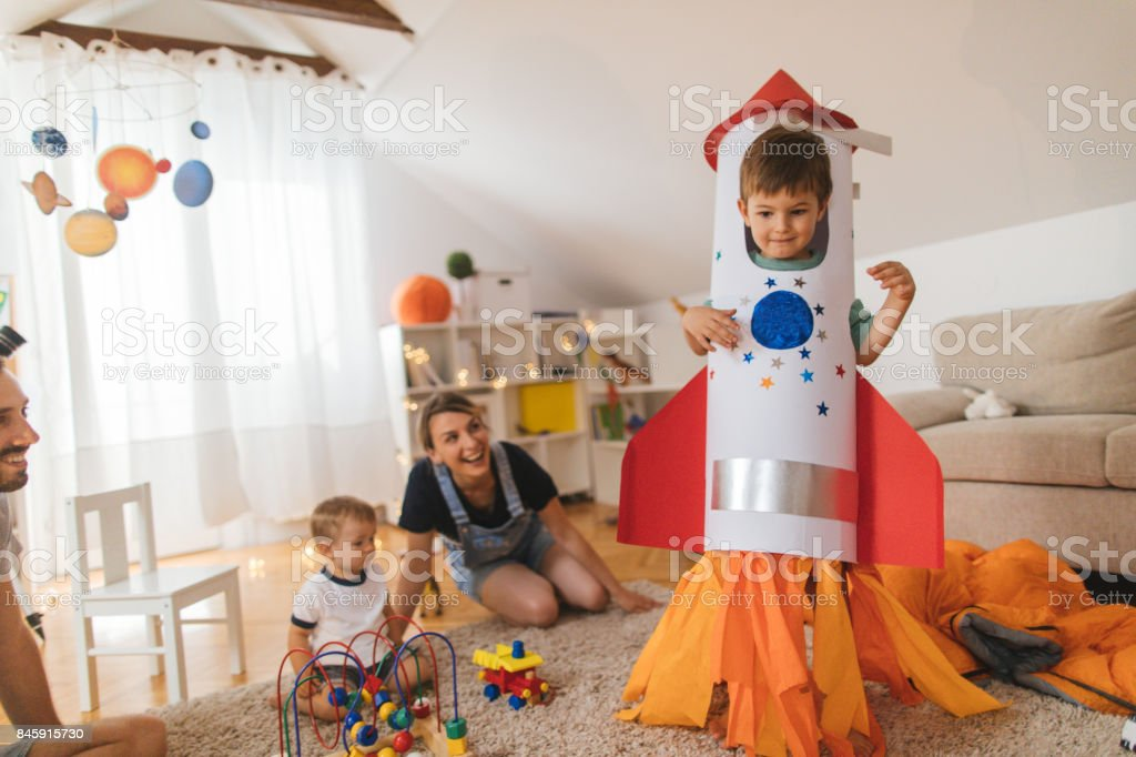 My big brother is a rocket! stock photo