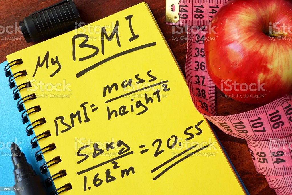 My BMI formula written on a page. Body Mass Index. stock photo