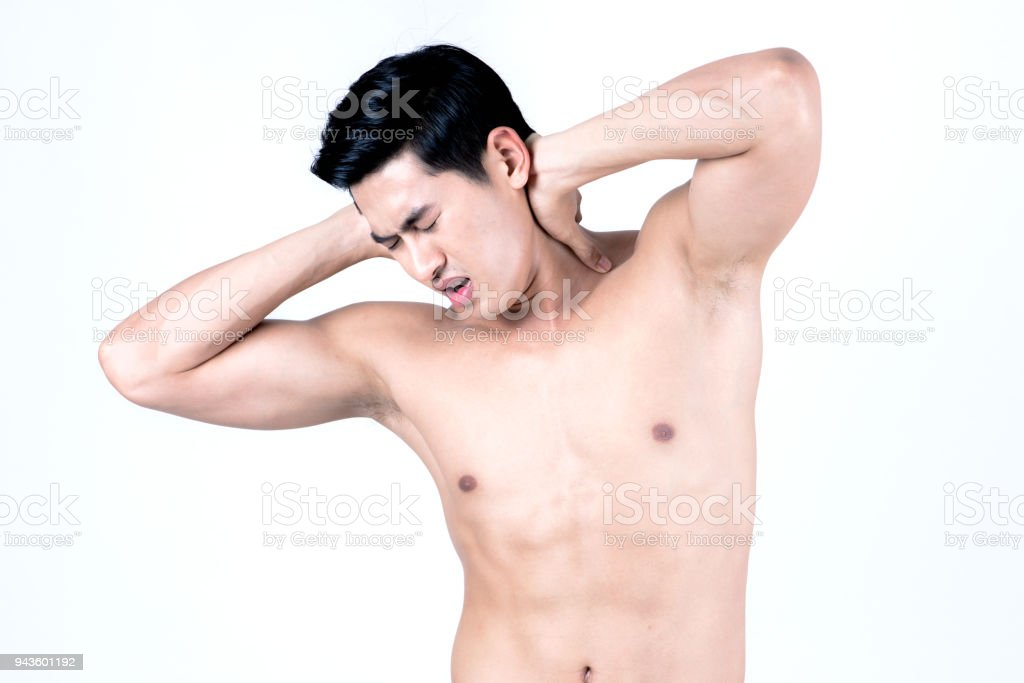 My body is hurt after too much weight training stock photo