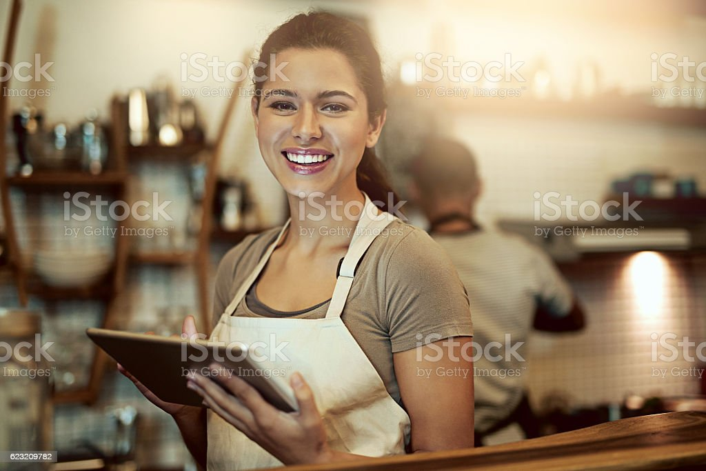 My cafe caters to online and in-store customers stock photo