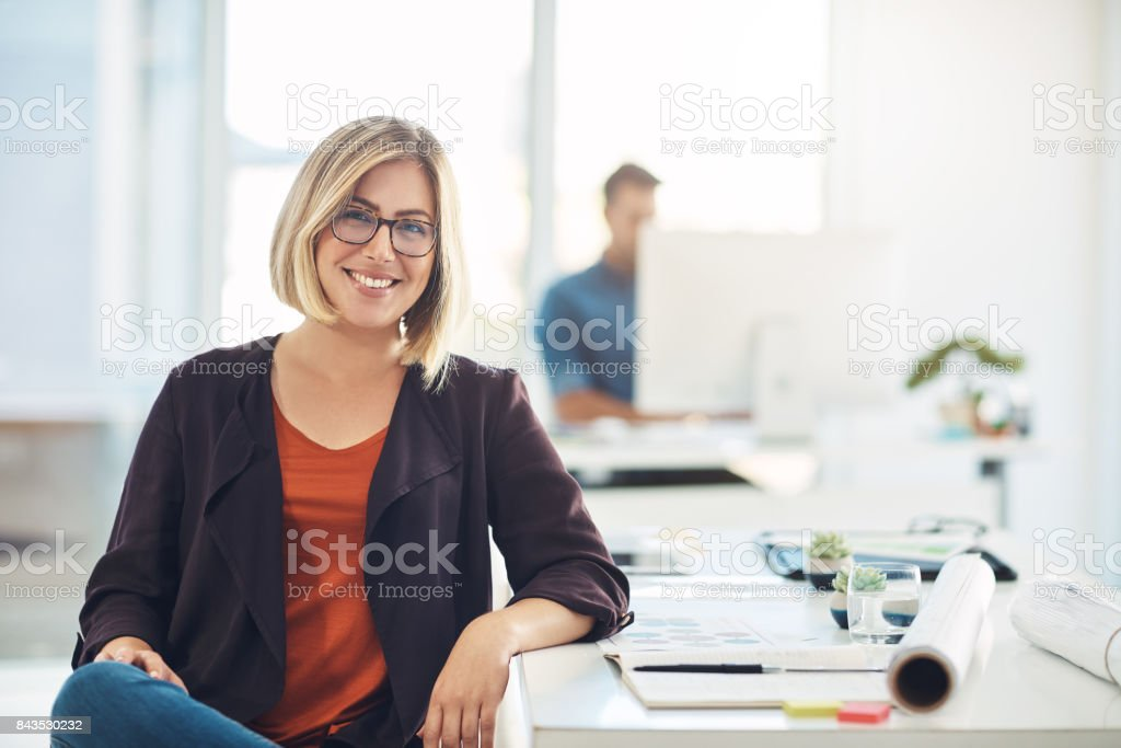 My career keeps me smiling everyday stock photo
