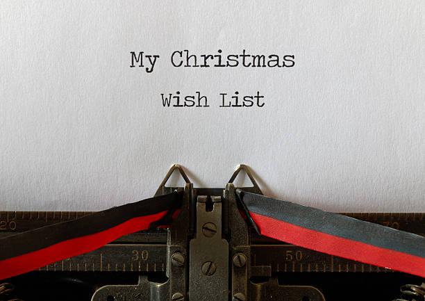 meinen wunschzettel für weihnachten zusammengestellt, alten stil - weihnachts wunschliste stock-fotos und bilder