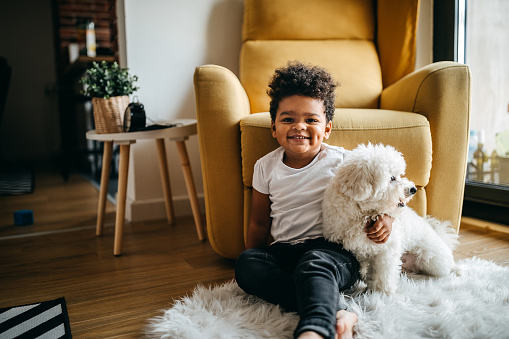 Boy playing with dog in living room, embracing him