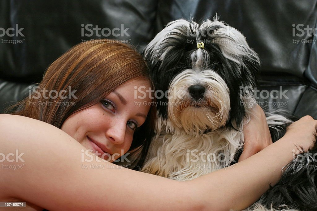 My daughter and her dog royalty-free stock photo