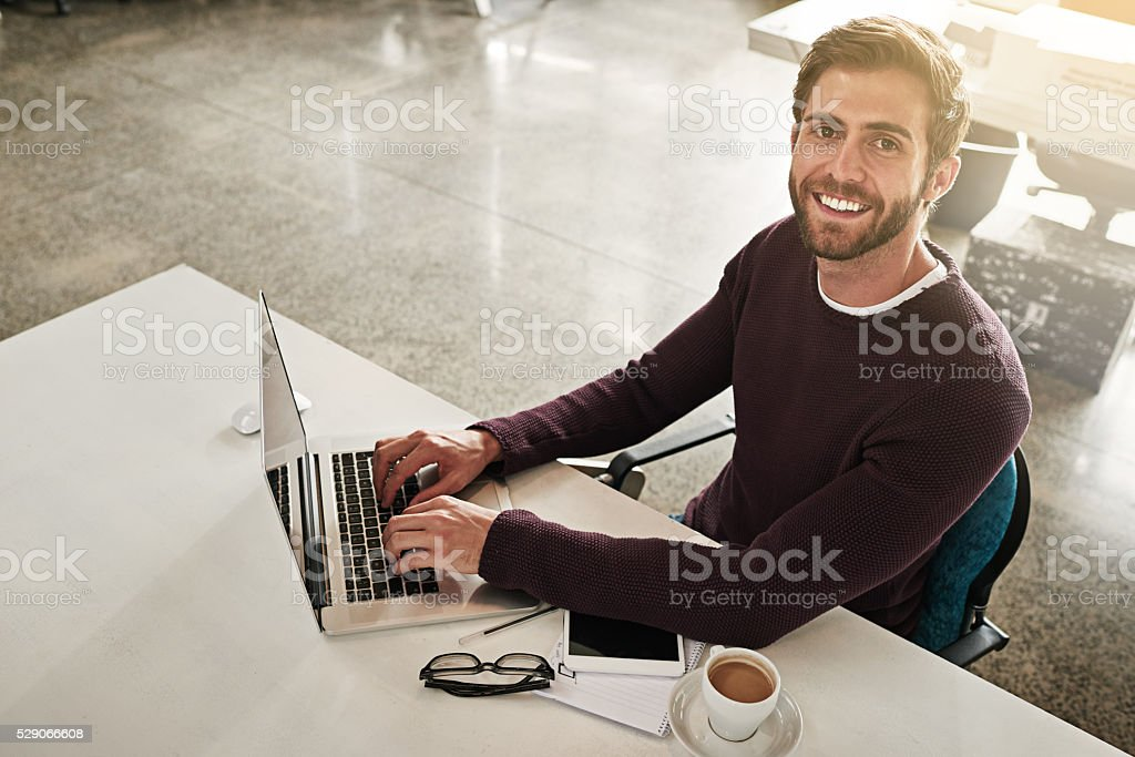 My desk is where I make things happen stock photo