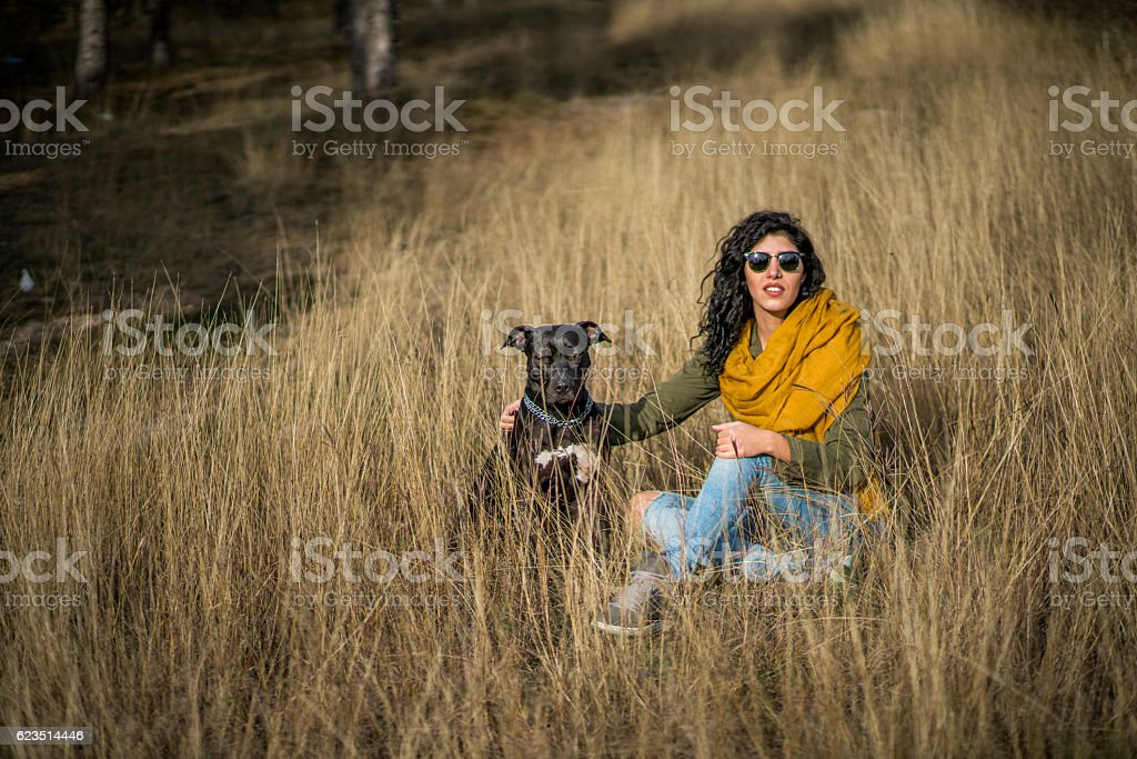 My dog and me stock photo