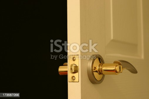 Gold style plated door handles opening to a dark room.