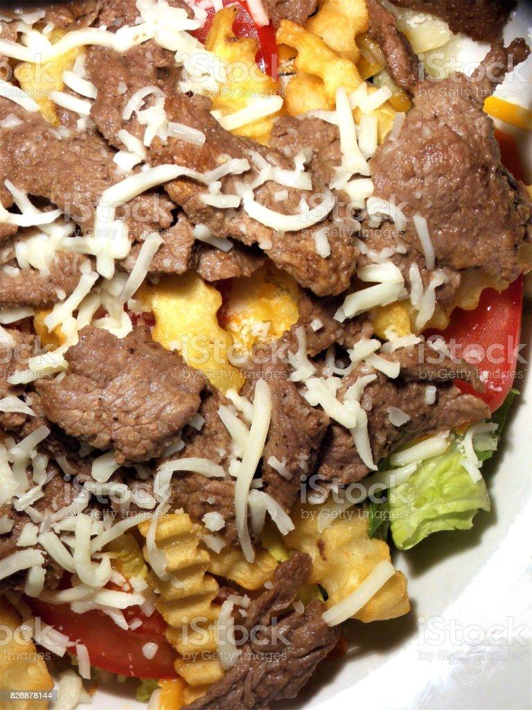 My Favorite Loaded Steak Salad with 8+ ounces of Seasoned Steak stock photo