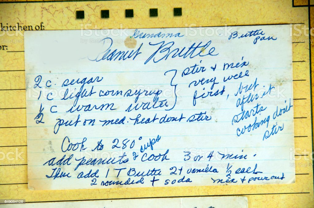 My favorite recipes, vintage and hand written  peanut brittle stock photo