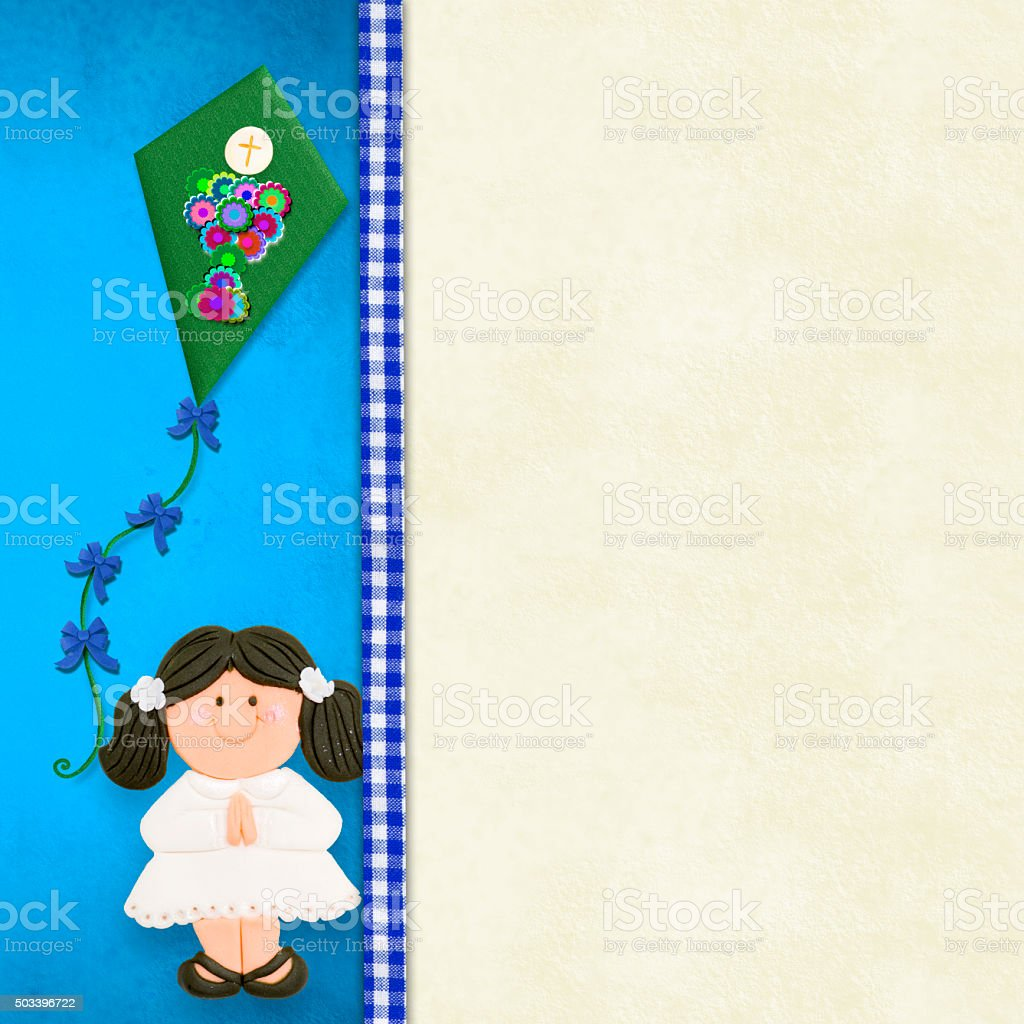 My First Holy Communion Invitation Card Girl Stock Photo Istock